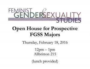 Open House for Prospective FGSS Majors Flyer